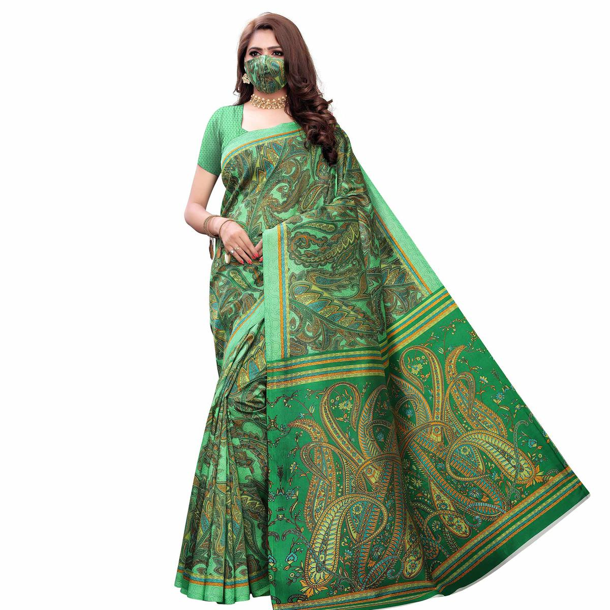 Gleaming Green Colored Casual Wear Printed Art Silk Saree With Mask