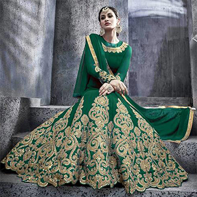 Green Pure Georgette Floor Length Anarkali Suit