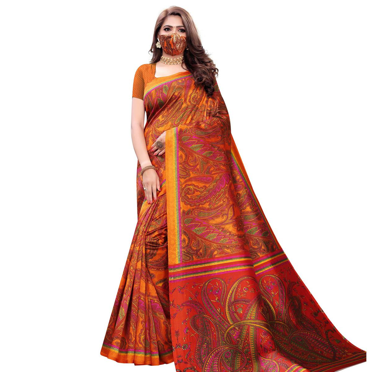 Mesmeric Yellow Colored Casual Wear Printed Art Silk Saree With Mask