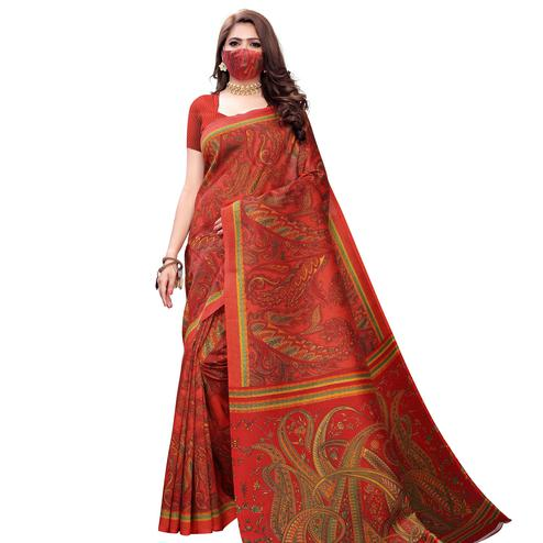 Unique Red Colored Casual Wear Printed Art Silk Saree With Mask