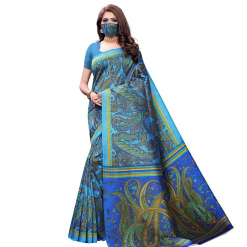 Demanding Blue Colored Casual Wear Printed Art Silk Saree With Mask