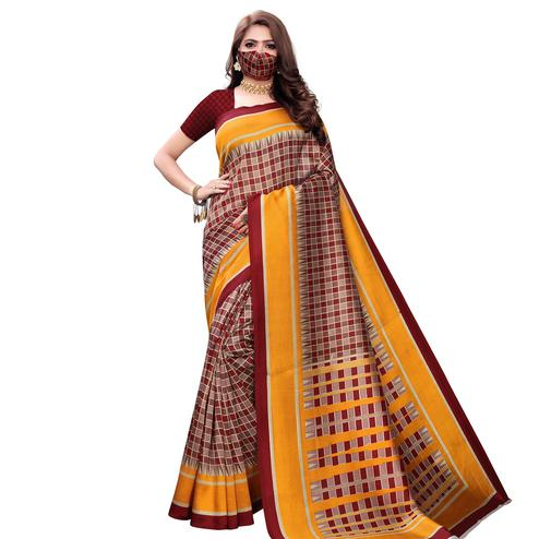 Refreshing Maroon-Yellow Colored Casual Wear Printed Art Silk Saree With Mask