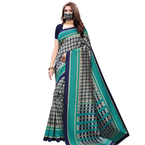 Magnetic Green Colored Casual Wear Printed Art Silk Saree With Mask
