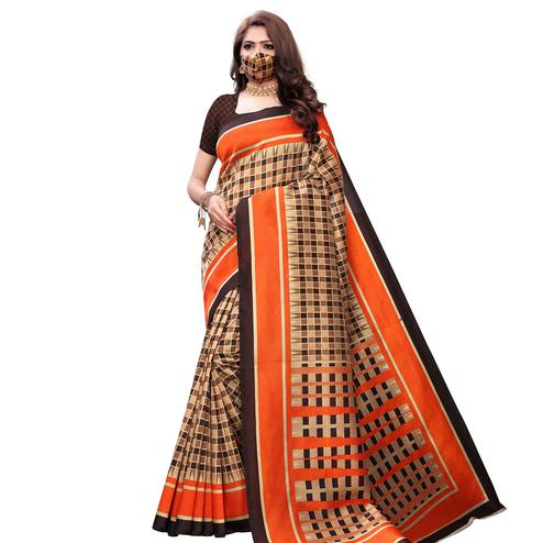 Hypnotic Orange Colored Casual Wear Printed Art Silk Saree With Mask