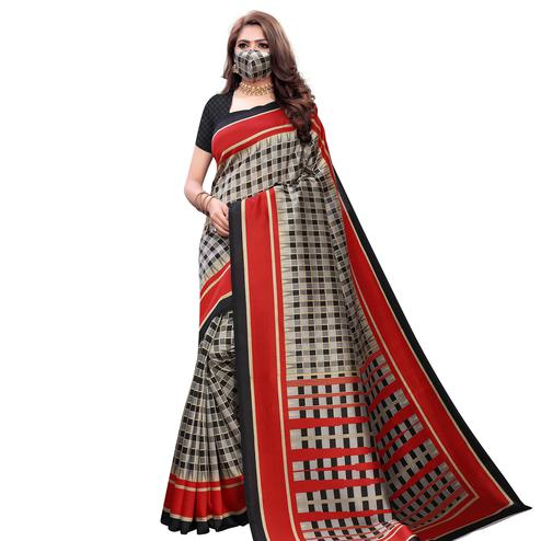 Flattering Red Colored Casual Wear Printed Art Silk Saree With Mask