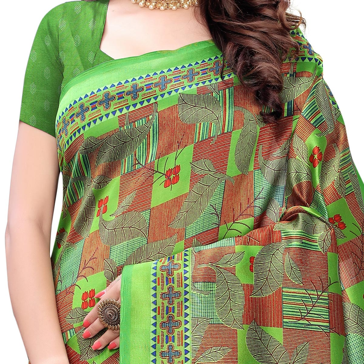 Excellent Green Colored Casual Wear Printed Art Silk Saree With Mask