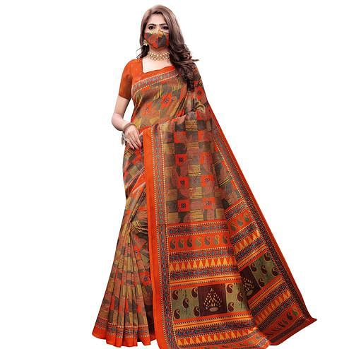 Preferable Orange Colored Casual Wear Printed Art Silk Saree With Mask