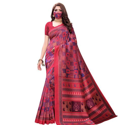 Marvellous Pink Colored Casual Wear Printed Art Silk Saree With Mask
