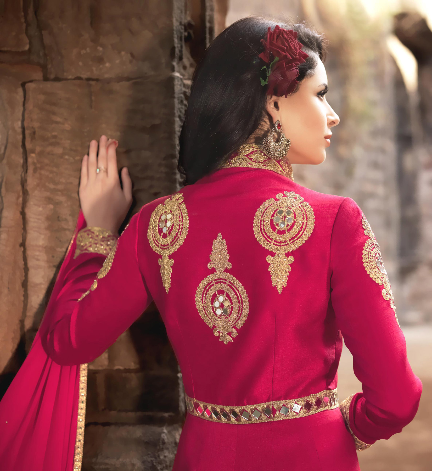 Pink Heavy Embroidered Banarsai Silk Anarkali Suit