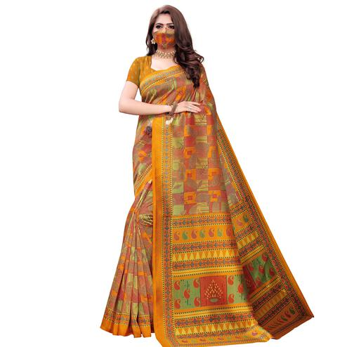 Flamboyant Yellow Colored Casual Wear Printed Art Silk Saree With Mask