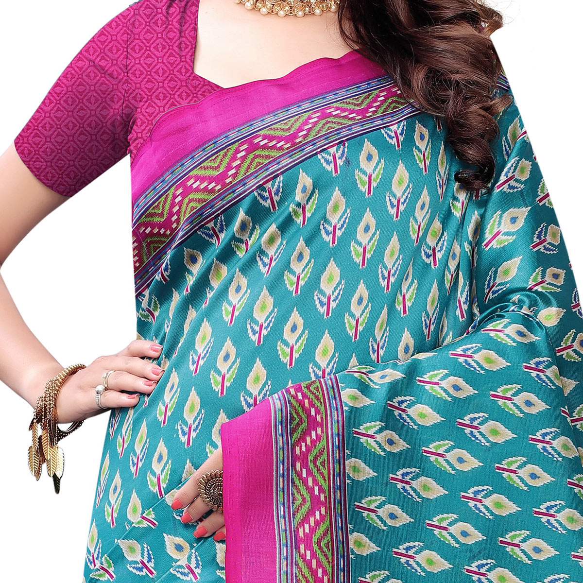 Flirty Blue Colored Casual Wear Printed Art Silk Saree With Mask