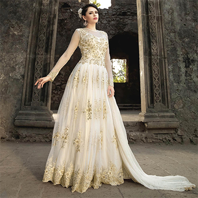Off-White Net Embroidered Gown Style Anarkali Suit
