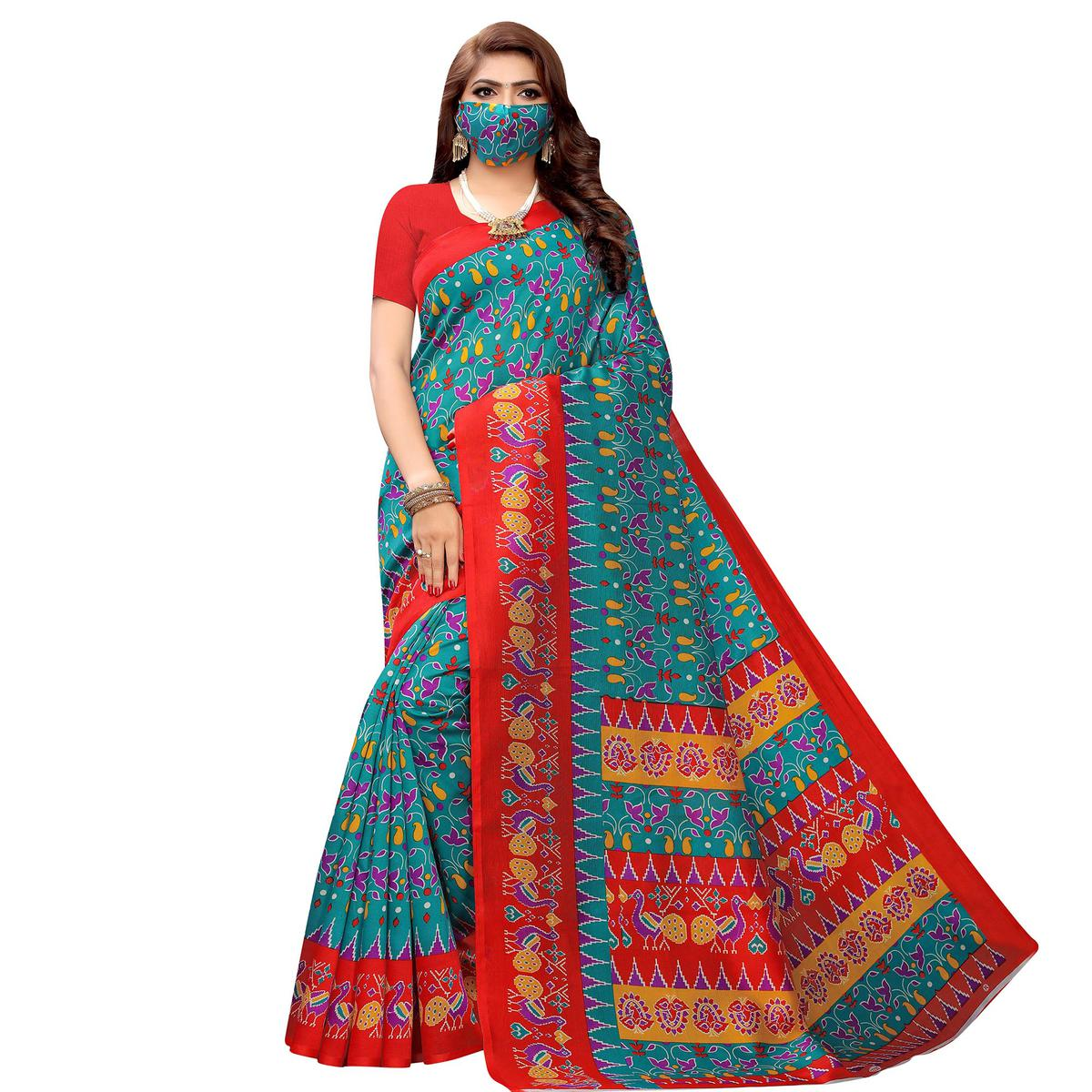 Attractive Blue Colored Casual Wear Printed Art Silk Saree With Mask
