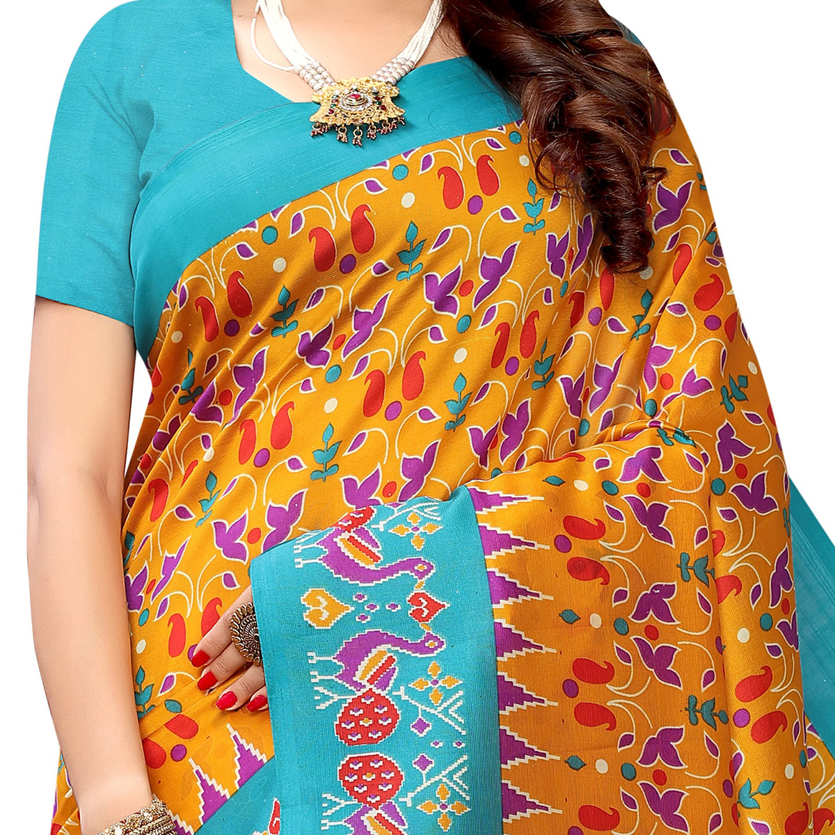 Beautiful Yellow Colored Casual Wear Printed Art Silk Saree With Mask