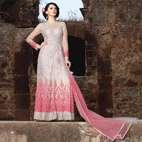 Silver-Light Pink Net Partywear Anarkali