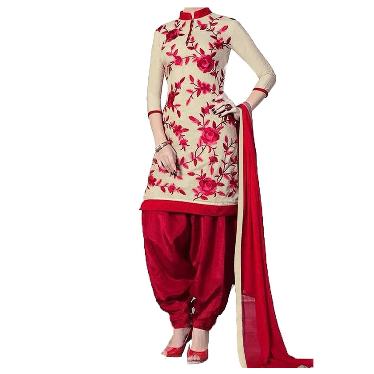 Cream - Red Printed Patiala Suit
