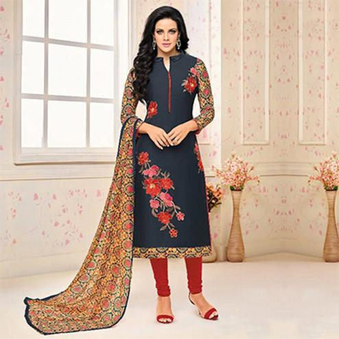 Slate Blue Color Floral Embroidered Work Suit