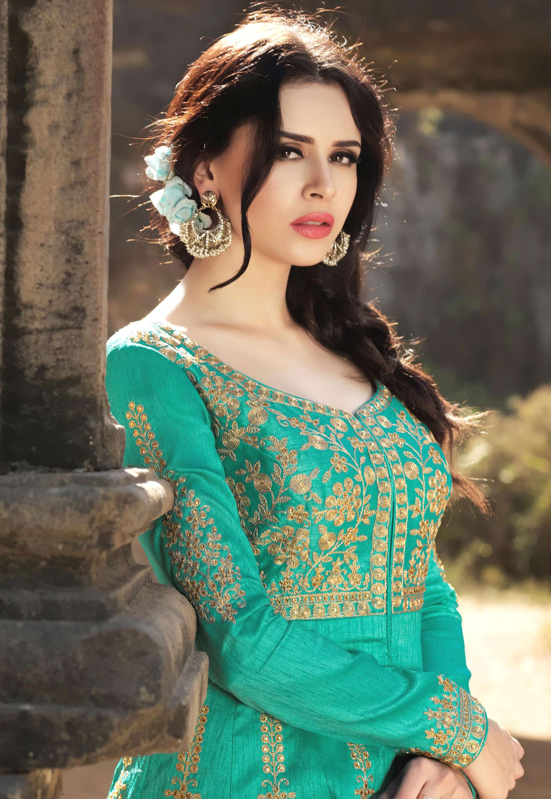 Teal Green Australian Silk Floor Length Festive Wear Anarkali