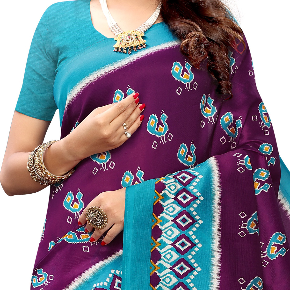 Gorgeous Purple Colored Casual Wear Printed Art Silk Saree With Mask