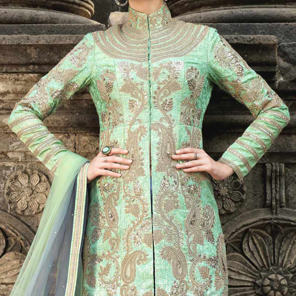 Light Green - Blue Australian Silk Heavy Embroidered Suit
