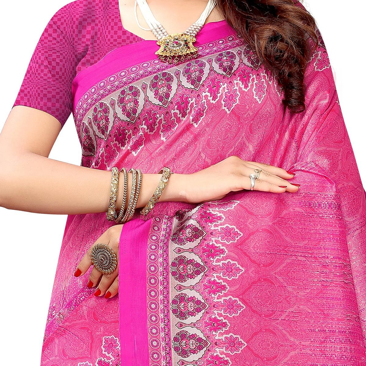 Ethnic Pink Colored Casual Wear Printed Art Silk Saree With Mask