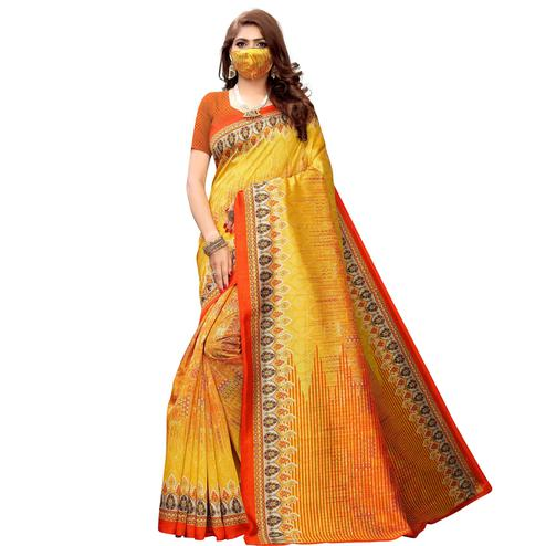 Ravishing Yellow Colored Casual Wear Printed Art Silk Saree With Mask