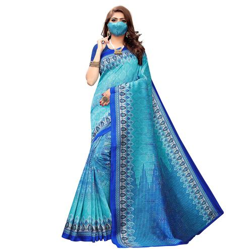 Dazzling Blue Colored Casual Wear Printed Art Silk Saree With Mask