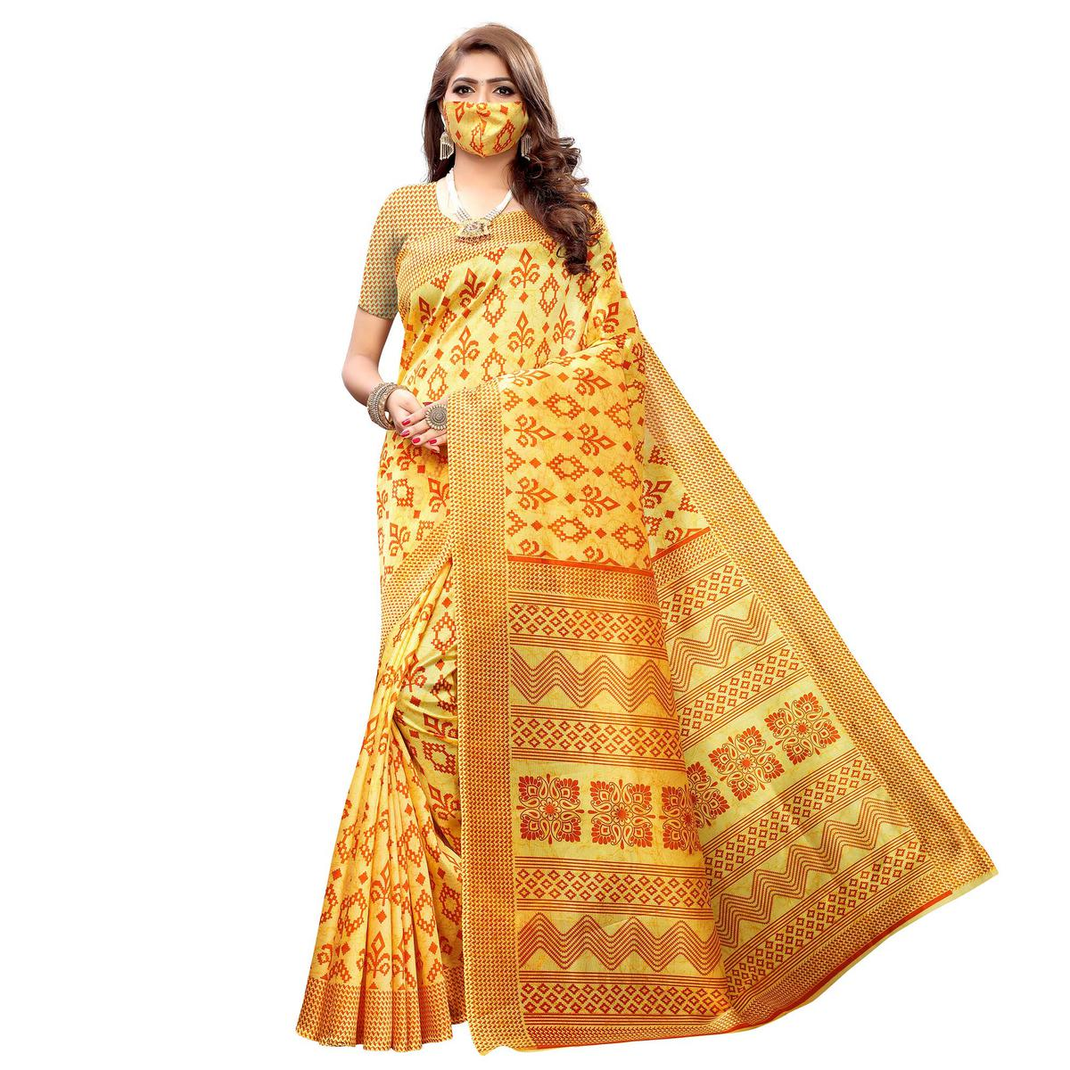 Arresting Yellow Colored Casual Wear Printed Art Silk Saree With Mask