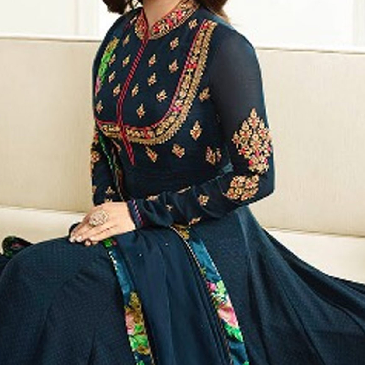 Beautiful Navy Blue Georgette Anarkali Suit