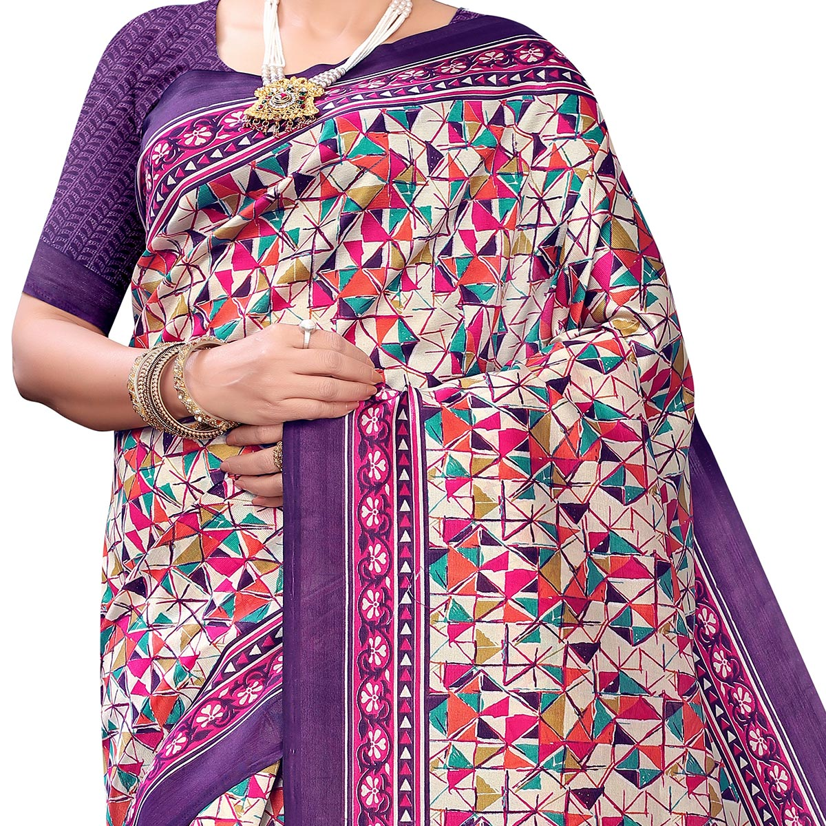 Gleaming Purple Colored Casual Wear Printed Art Silk Saree With Mask