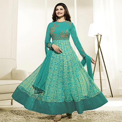 Ravishing Rama Green Georgette Anarkali Suit