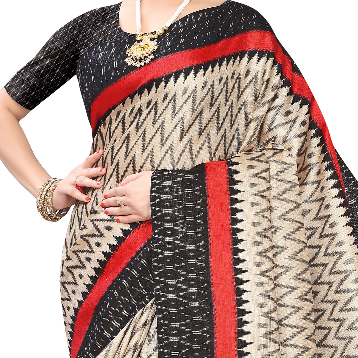 Marvellous Beige-Black Colored Casual Wear Printed Art Silk Saree With Mask