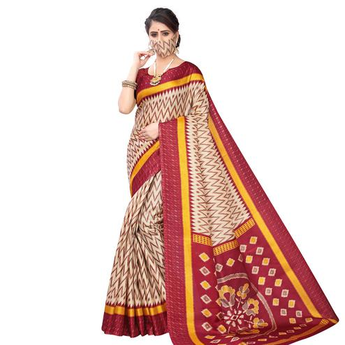 Flamboyant Beige-Maroon Colored Casual Wear Printed Art Silk Saree With Mask