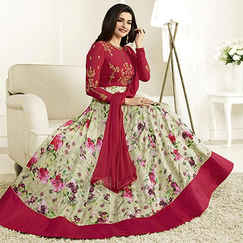 Lovely Pink Georgette Anarkali Suit