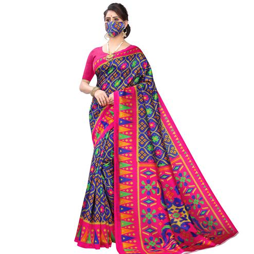 Alluring Navy Blue Colored Casual Wear Printed Art Silk Saree With Mask