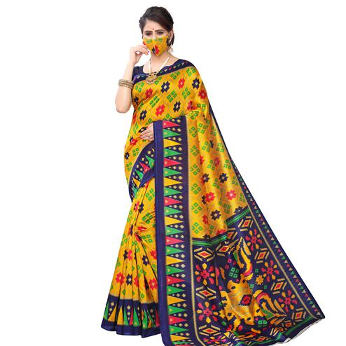 Sensational Yellow Colored Casual Wear Printed Art Silk Saree With Mask