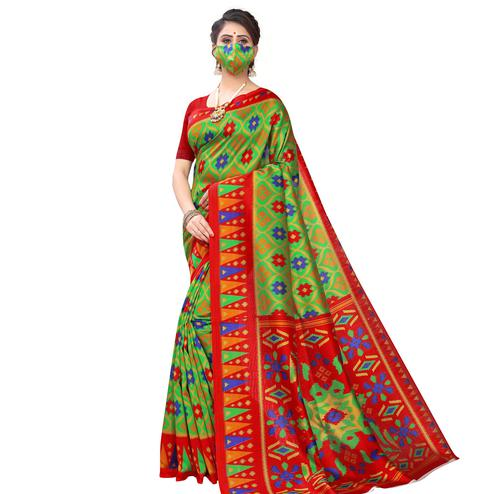 Flaunt Green Colored Casual Wear Printed Art Silk Saree With Mask