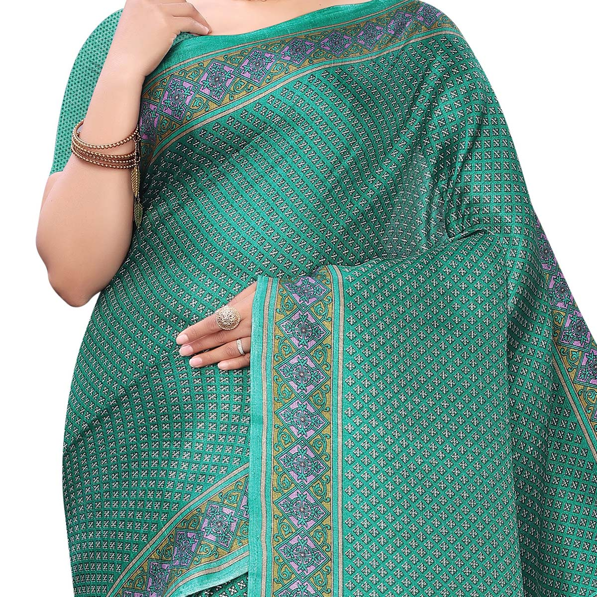 Intricate Green Colored Casual Wear Printed Cotton Saree With Mask