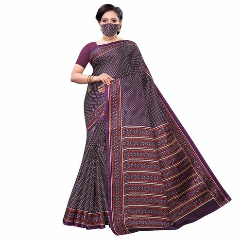 Arresting Wine Colored Casual Wear Printed Cotton Saree With Mask