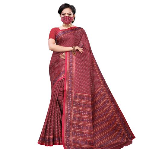 Desirable Red Colored Casual Wear Printed Cotton Saree With Mask