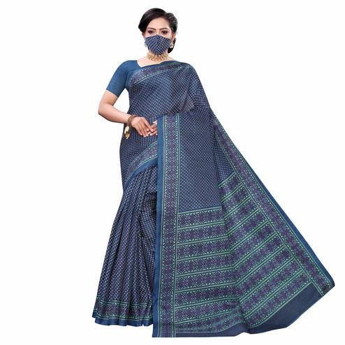 Exotic Blue Colored Casual Wear Printed Cotton Saree With Mask