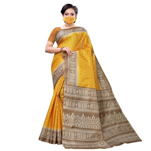 Trendy Yellow Colored Casual Wear Printed Cotton Saree With Mask