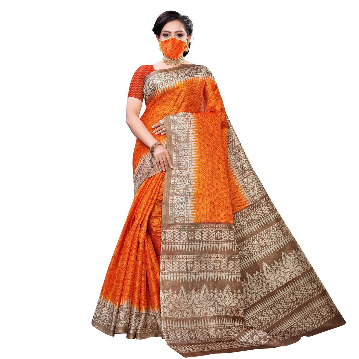 Elegant Orange Colored Casual Wear Printed Cotton Saree With Mask