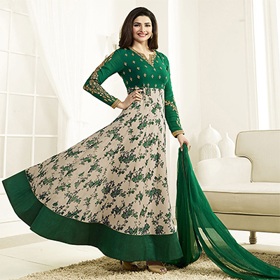 Dazzling Green Georgette Anarkali Suit