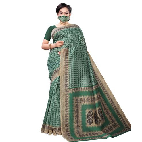 Opulent Green Colored Casual Wear Printed Cotton Saree With Mask