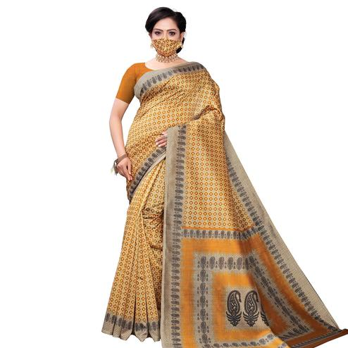 Glowing Yellow Colored Casual Wear Printed Cotton Saree With Mask