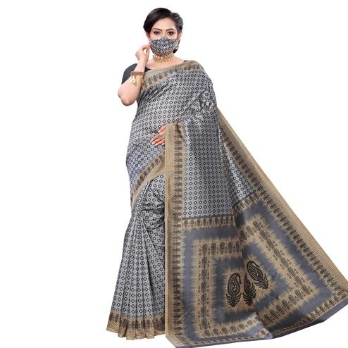 Exceptional Grey Colored Casual Wear Printed Cotton Saree With Mask