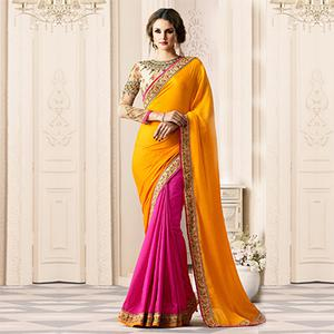 Ravishing Yellow-Pink Designer Embroidered Partywear Silk Saree