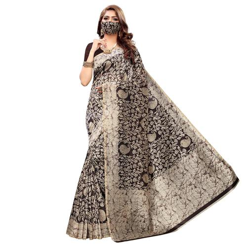 Charming Brown Colored Casual Wear Printed Cotton Saree With Mask