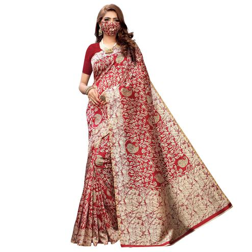 Jazzy Red Colored Casual Wear Printed Cotton Saree With Mask